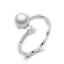 Anillo de apertura de perlas romántico de plata de ley 925 para mujer