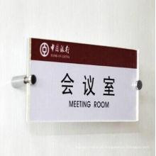 Personalize o sinal do escritório da sala de reunião ou o sinal de número plástico acrílico do suporte