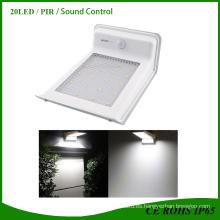 20 LED Luz de sensor de movimiento con energía solar brillante Patio de jardín al aire libre Ruta de montaje en la pared Luz de valla de valla Lámpara de seguridad 3-en-1 (PIR Motion + Dim Light)