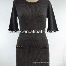 12STC0526 senhoras inverno longo camisola vestidos
