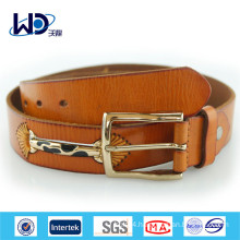 Yellow color Pin Buckle Genuine Cowhide Leather Belt
