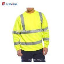 Hi Viz Full Color Crew Safety Sweatshirt Warm Reflective Strips Mens Work Clothing Jumper Sweat Top