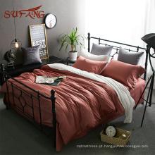 Congratulou-se com a cor do Natal egípcio algodão conjuntos de cama de luxo cetim fronha