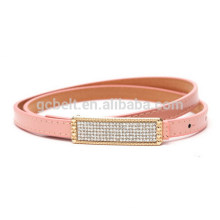 Woman and lady Fashion PU waist belt for dressing with stone flat buckle