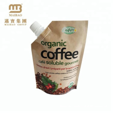 Custom Made Liquid Drink Packaging Spouted Bag / Laminated Maiterial Brown Kraft Paper Spout Pouch For Beverage