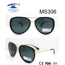 Shiny Black Frame Metal Sunglasses (MS306)
