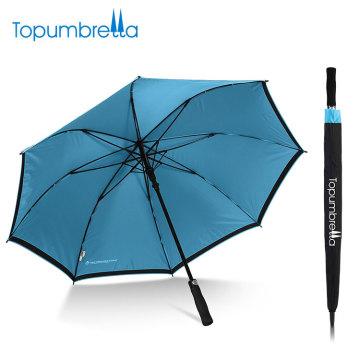 отражатель зонтик Эпонж ткань 190t длинный Вал Автоматическая двойных слоев ветрозащитный сильный зонтик для гольфа
