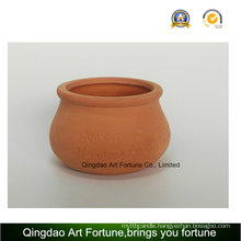 Outdoor-Natural Candle Holder--Clay Ceramic Pot Bulge Shape