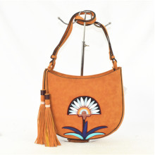 High Quality PU Shoulder Handbags with Flower