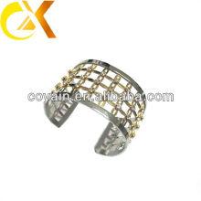 Cz pedras bracelete de aço inoxidável com chapeamento de ouro