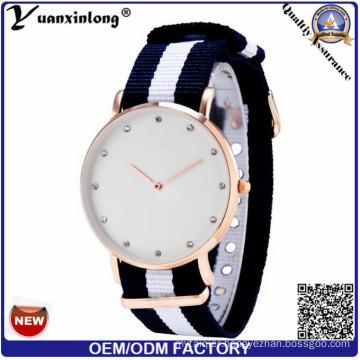 Yxl-256 2016 Fashion Men Women Watches Diamond Luxury Quartz Watch Nylon Nato Rose Gold Silver Clock Relojes Femme Ladies Watch