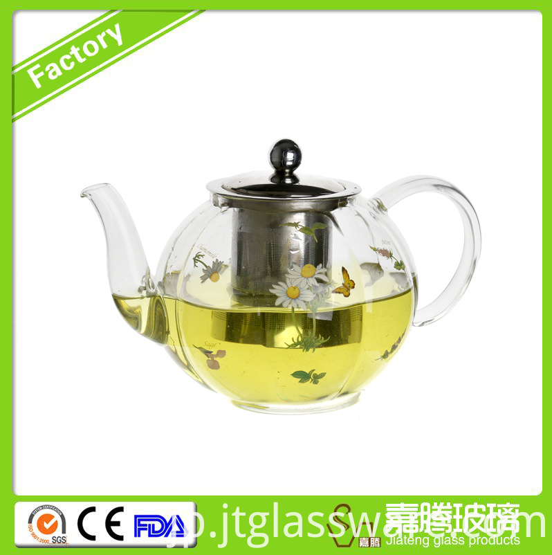 flower glass teapot