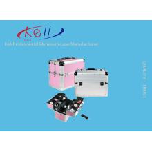 Étui de beauté professionnel en argent et rose en aluminium résistant Cas d'étui professionnel en aluminium