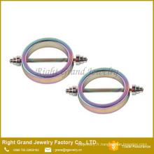 Rainbow acier chirurgical Titanium plaqué cercle forme mamelon bagues bijoux de corps