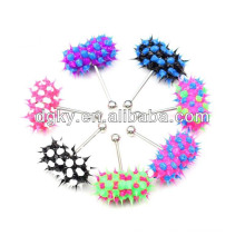 Colorful silicon piercing vibrating tongue ring jewelry