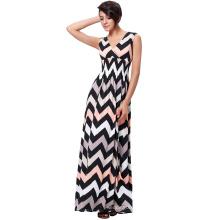 Kate Kasin Women's Sleeveless V-Neck High Stretchy Wave Elastic Waist Stripe Long Maxi Dress KK000236-1