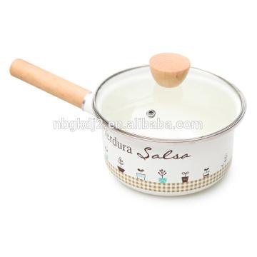 olla de esmalte individual con mango de madera y producto de esmalte