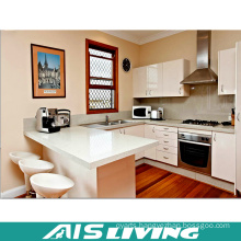 U-Shape Lacquer Kitchen Cabinets Furniture with Handle (AIS-K344)