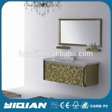 Cabinet de salle de bain en acier inoxydable doré