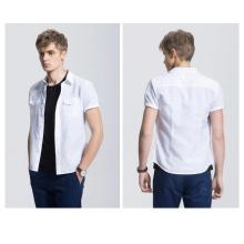 Fashion Casual New Design White Plain Men′s Shirt
