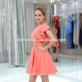 Venta caliente de buena calidad barato color rosa elegante vestido de noche corto mujeres