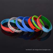 Factory Bulk billig Silikon Armband keine Mindestbestellung benutzerdefinierte Silikon Armband