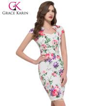 Grace Karin Cap manga de algodón de algodón vestido impreso CL007597-7