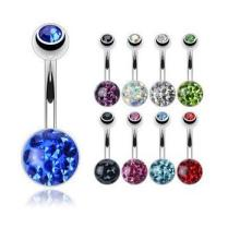 Gems Paved Steel Navel Button Belly Rings