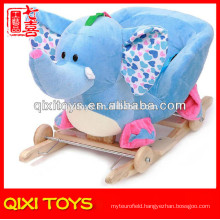 Customized logo cute gift plush elephant rocking chair with wheels
