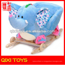 Индивидуальные логотип милый подарок плюшевые слон качалка с колесами