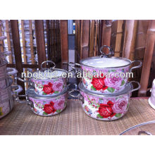 5pcs enamel cookware set with SS handle and glass lid