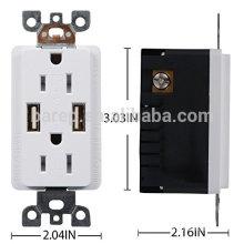 Prise conventionnelle de mur de prise de mur d'USB de remplissage de 2 ports 4,0a