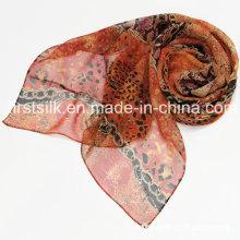 100% Seide Silk Chiffon bedruckter Schal