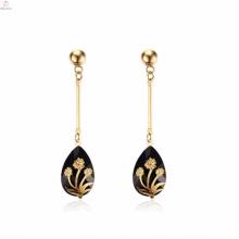 Hochwertiger Herz-Goldblumen-Tropfen-Ohrring mit Rhinestone