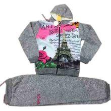 Hot Transfer imprimir ropa de los niños en sudadera con capucha de lana con pantalones Sq-17117