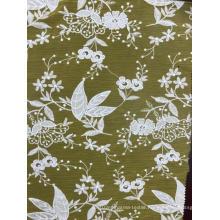 White Flowers Orange Background Chiffon Embroider Fabric