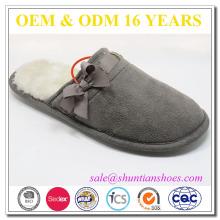 Micro en daim en mousseline de soie chaude et douce TPR semelle extérieure pour femme pantoufles d'hiver