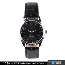 Cuarzo movt en relieve cuero negro hombres reloj, bajo mens moq relojes