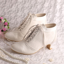 Low Heel Lace Bridal Boots for Wedding