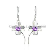 925 sterling sliver bijoux fleur crochet boucles d'oreilles quatre feuilles trèfle boucles d'oreilles fleur