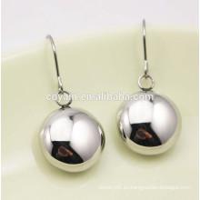 Brillante bola oblata pendientes de plata pendientes de gancho para las mujeres