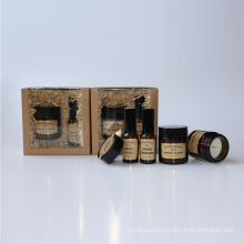 30ml glass bottle room spray and 2 candle in jar in nature box