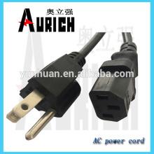Cabo de alimentação CA de cabo para Plug elétrico de PVC padrão UL 125V