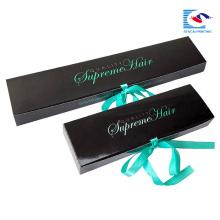 benutzerdefinierte schwarze Haarverlängerung Verpackung mit Band