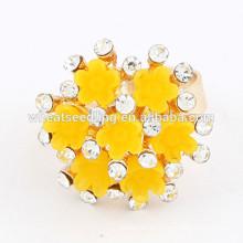 Anillo de compromiso del diamante del anillo indio del estilo de la flor de la manera