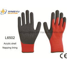 Acrylic Shell Napping Lining Latex Thumb Fully Coated Crinkle Finish Safety Work Glove (L6502)