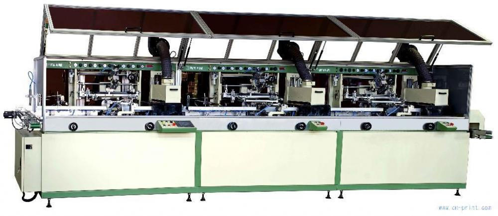 Automatic 3-colour cylinder UV Screen Printer for plastic