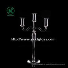 Titular de vela de vidro para decoração com três lugares