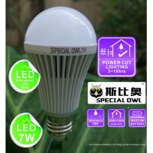 Lâmpada LED de emergência recarregável de 7W com bateria de reserva E27 B22