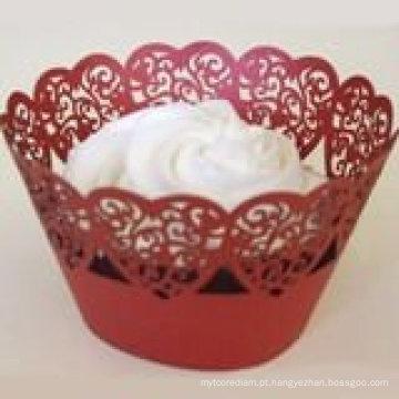 """Fontes de festa de casamento mais recentes """"coração folhas"""" decoração de papel Wrapper Cupcake filigrana para atacado e varejo"""